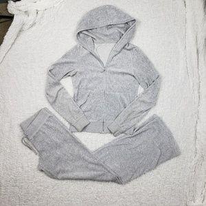 Juicy Couture Gray Velour 2 Piece Jogging Suit
